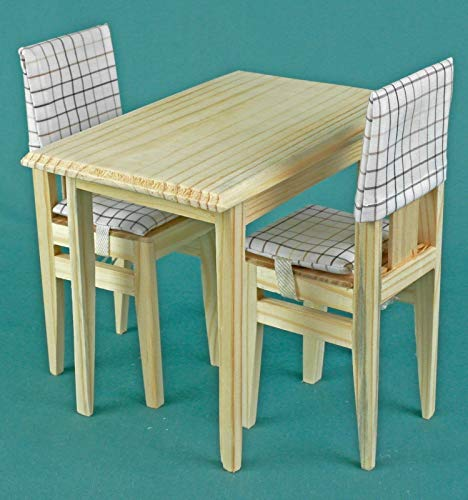 (Table and 2 chairs set, dollhouse wooden furniture 1:6 play-scale, for 12 inch dolls, for Barbie Momoko Blythe, accessories role-playing games)