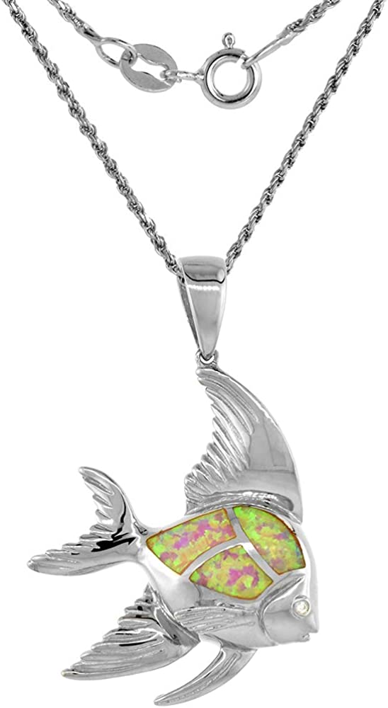 Sterling Silver Synthetic Opal Necklace in Blue /& Pink Amethyst CZ 7 mm Trillium 1 inch Rope Chain