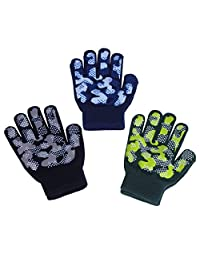 EvridWear Boys Magic Stretch Gripper Gloves, Children 3 Pairs