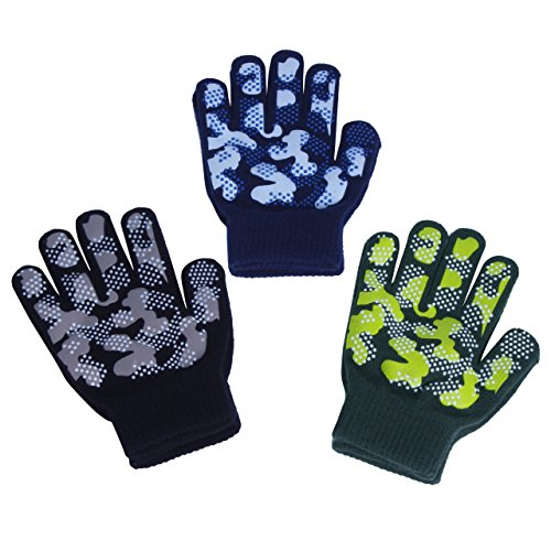 EvridWear Boys Magic Stretch Gripper Gloves 3 Pair Pack Assortment, Kids One...
