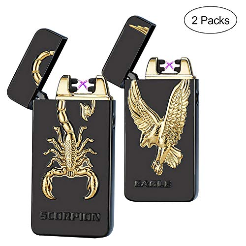 Kivors USB Rechargeable Flameless Electronic Plasma Dual Pulse Arc Lighter (Scorpion + Eagle)
