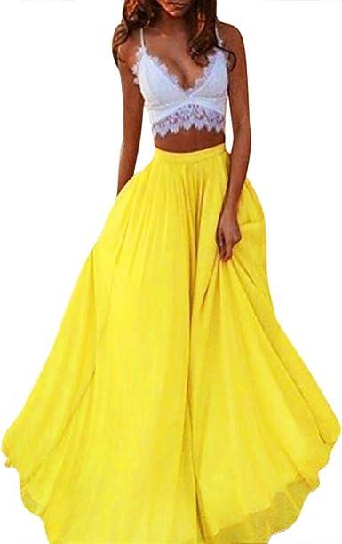 beautyjourney Faldas de Gasa de Las Mujeres Falda Plisada Casual ...