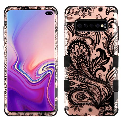 TUFF 2D Series Compatible with Samsung Galaxy S10+ Plus, Military Grade Drop Tested Hybrid Phone Case Protector Cover and Atom Cloth - Rose Gold Paisley Vines