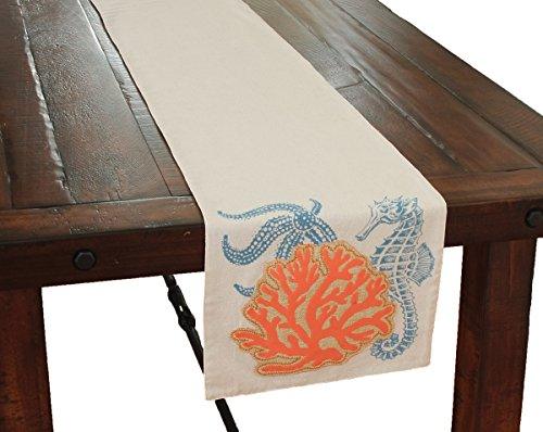 - Xia Home Fashions Applique Sea Life/Coral Coastal Table Runner, 13.5 by 72-Inch, Sand