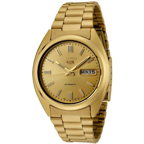 Seiko Gold Plated Bracelet - Seiko Men's SNXS80K Seiko 5 Automatic Gold Dial Gold-Tone Stainless Steel Watch