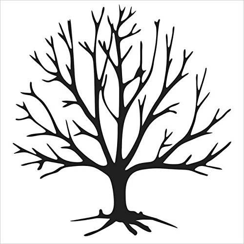The Crafters Workshop Stencil 4 X 4 Inch Tree Bits Black White