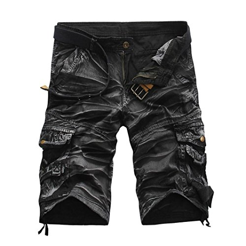 Mens Shorts, Forthery Men's Teen Boys Hip-hop Stylish Jogger Trouser Casual Camo Shorts Cargo Pants (M, Gray)