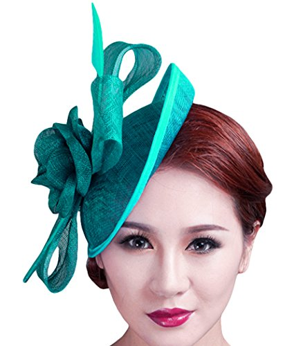 Fascigirl Sinamay Fascinator Hat Feather Party Pillbox Hat Flower Derby Hat for Women (X (Fascinator Headband)