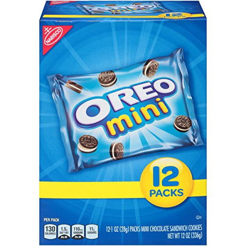 Oreo Mini Chocolate Sandwich Cookies - Snack Packs, 12 Count Box, 12 Ounce (Pack of 4)