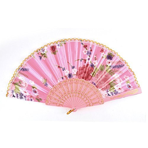 DealMux Plastic Ribs Floral Printed Lady Lace Trim Dancing Folding Hand Fan