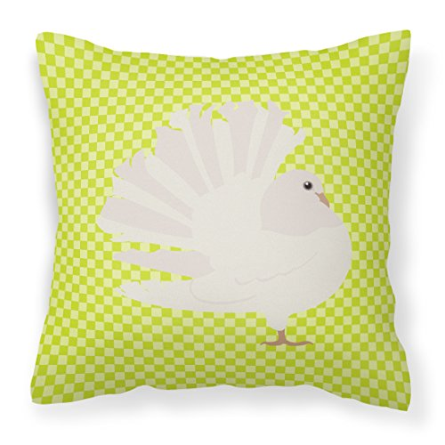 Pillow Pigeon - Caroline's Treasures BB7776PW1414 Silver Fantail Pigeon Green Outdoor Canvas Fabric Decorative Pillow, 14