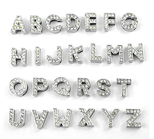 Fully 10MM DIY Rhinestone Letters Charm for Dog Puppy Cat Collar Bracelet Necklace (Style C (PLZ choose 30pcs letters from A-Z), (Charming Wholesale Jewelry)