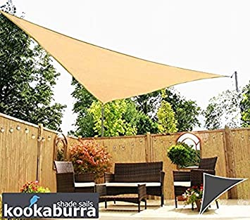 Kookaburra Breathable Sun Sail Shade – Sand – 13ft 9 x 19ft 8 Right Angled Triangle