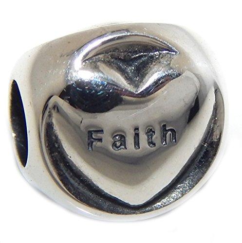 Charm Love Faith Heart Hope - ICYROSE Solid 925 Sterling Silver Three Sided 'Love, Faith, Hope' Hearts Charm Bead 012