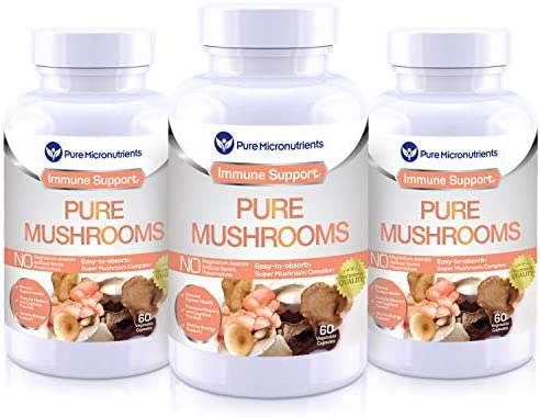 Pure Mushroom Supplement – Lions Mane, Reishi, Chaga, Cordyceps Turkey Tail – Premium Immune System Booster Nootropic Brain Complex for Energy, Memory Focus – Mega 3 Pack – Pure Micronutrients