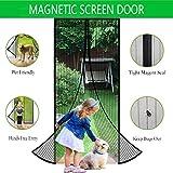 Magnetic Screen Door Heavy Duty Mesh Curtain Fits Door Size 37 x 82-Inch Max Black