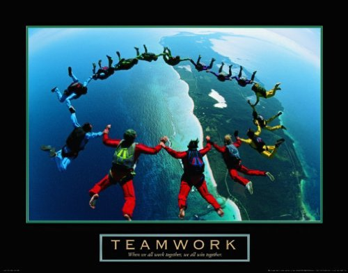 Teamwork Skydiving Ring Motivational Poster Inspirational Art Print, Collections Print, by Discount