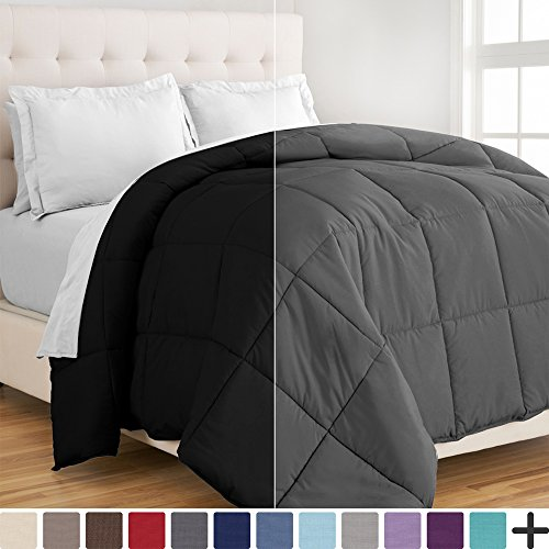 Ultra-Soft Premium 1800 Series Goose Down Alternative Reversible Comforter – Hypoallergenic – All Season – Plush Fiberfill (Full/Queen, Black/Grey)