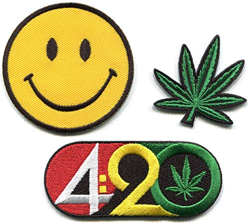 420 Smiley face Pot Leaf Marijuana Cannabis Retro Hippie lot of 3 Embroidered Appliques Iron-on Patches PM-2 ()