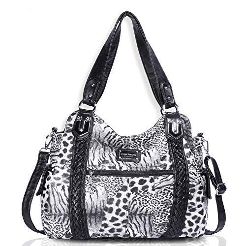 Print Shoulder Bag - Angel Barcelo Roomy Fashion Hobo Womens Handbags Ladies Purse Satchel Shoulder Bags Tote Washed Leather Bag Leopard print