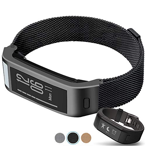 C2D JOY Compatible with Garmin vivosmart HR+Plus Replacement Band with Metal case, Metal Weave Strap for Daily Wear Soft, Breathable Activity Tracker Accessories Watchband - 1601, M/6.5-8.5 in.