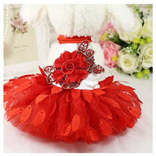 Comfortable Wedding Mesh Clothing Pet Wanyne Cat Dress Clothes Red M Leaves Yarn wq7nYdO