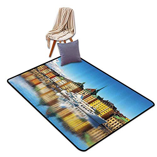 Durable Square Rug Wanderlust Decor Collection Summer Panorama of The Gamla Stan in Stockholm Sweden Yacht Ship by The Port Ocean Pattern Suitable for Bedroom, Living Room Yellow,W55 xL79