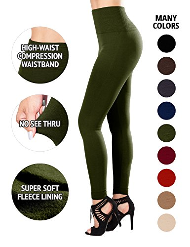 - Sejora Fleece Lined Leggings - High Waisted Slimming Thick Tights - Many Colors (One Size (High Waist), Olive)