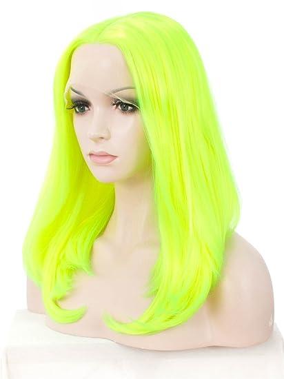 Imstyle brillante verde Lace Front Peluca medio parte Bob peluca verde peluca sintética cabello de fluorescencia
