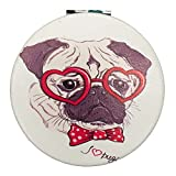 Pug Dog Pocket Compact Mirror - Funny Pug Luv Purse Gift for Makeup Cosmetic Bag 2.75'' Diameter