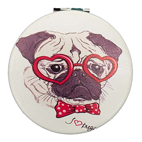Bag Gift Spa Dog (Easter Basket Stuffer Gift Funny Pug Dog Compact Mirror Gift - Red Heart Pug Luv for Purse Bag)