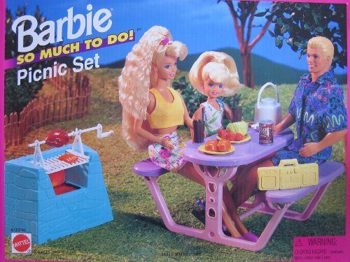 Barbie So Much To Do PICNIC Set w Barbecue & MORE! (1995 Arcotoys, Mattel) (Radio Barbie De)
