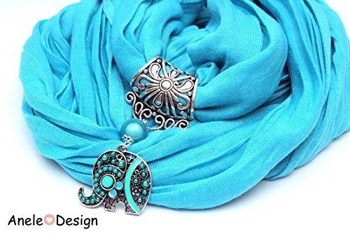 É charpe foulard bijou bleu, É lé phant cristal Éléphant cristal