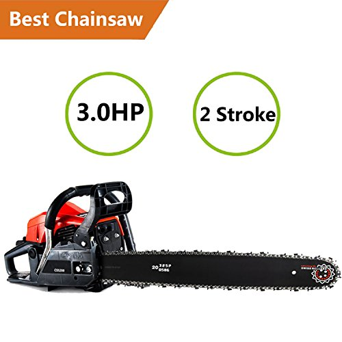 ncient Gas ChainSaw 20″ 52CC Gas Powered Chain Saw 2 Stroke 3.0HP Handed Petrol Chainsaw Smart Start Super Air Filter System Automatic Oiling Tool Kit [US STOCK] (52CC)