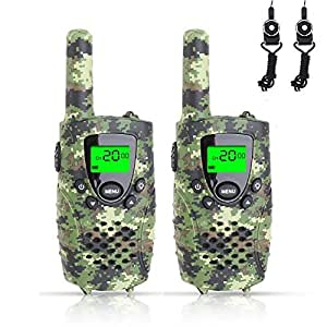 FAYOGOO Kids Walkie Talkies, 22-Channel FRS/GMRS Radio, 4-Mile Range Two Way Radios with Flashlight and LCD Screen. 2 Pack, Camo Green