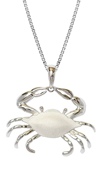 b5ab8c3f532 Amazon.com  Sterling Silver Blue Crab Necklace Pendant With 18