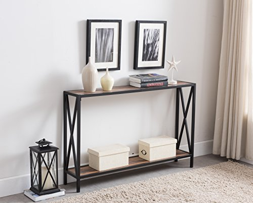 Reclaimed Weathered Oak / Black Metal Frame 2-tier Entryway Console Sofa Table with X-Design Sides For Sale