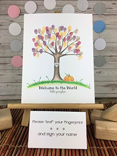 Fall themed baby shower fingerprint tree with a pumpkin and beige -