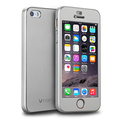 iPhone 5S Case, iPhone 5 Case, iPhone SE Case, VANSIN 360 Full Body Protection Hard Slim Case with Tempered Glass Screen Protector for Apple iPhone 5 5S SE (4.0-inch) - Silver