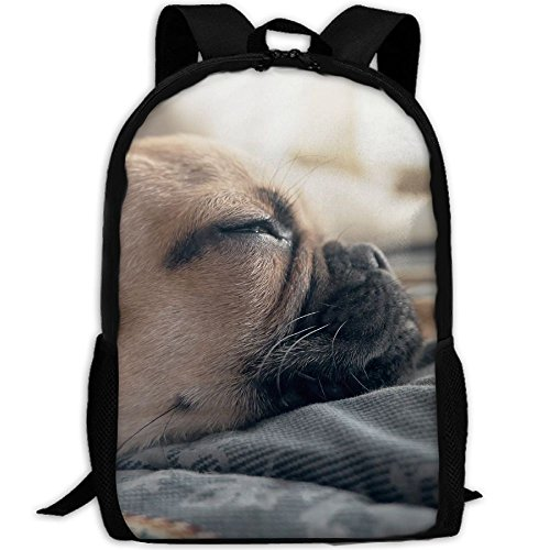 PengLi Cute Pug Sleeping In Bed Adult Outdoor Leisure Sports Backpack And School Backpack