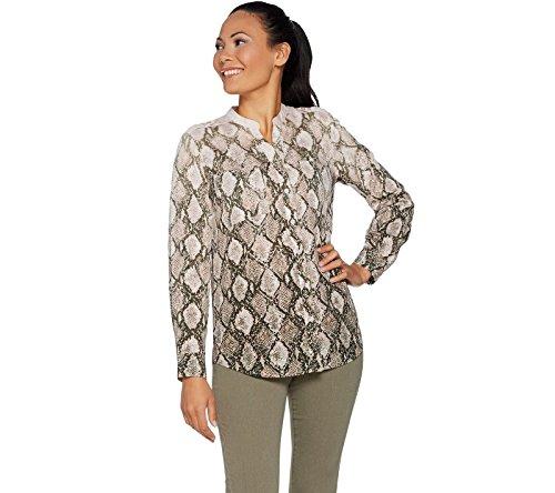 Belle Kim Gravel Python Print Woven Blouse A293693, Pink Python, (Bella Print Blouse)