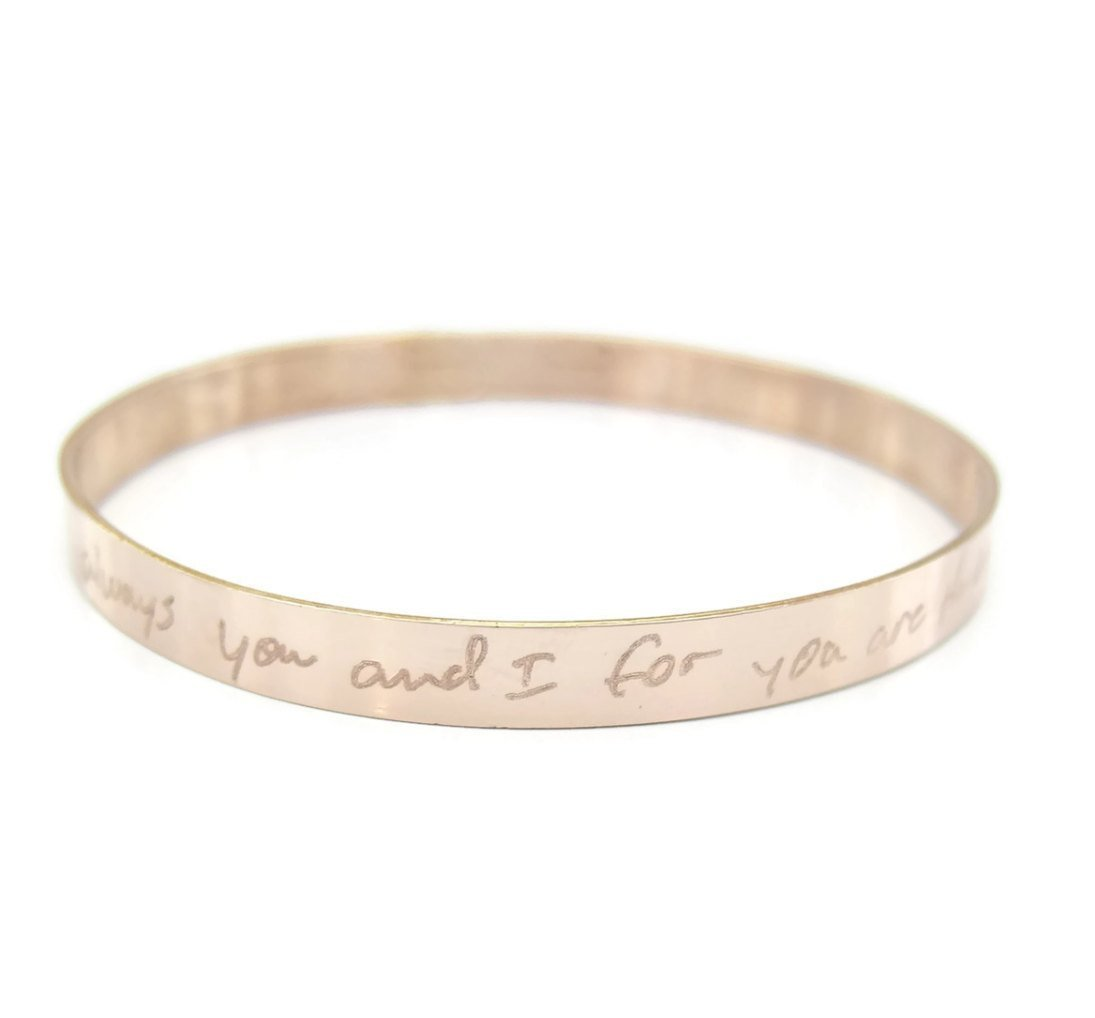 6562f6384a81d Amazon.com: Handwriting Bangle Bracelet, Gift, Rose Gold ...