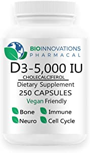 Bio-Innovations Pharmacal Vitamin D3-5000 (Cholecalciferol) Hypoallergenic Support for Muscles, Bones & Teeth, Breast, Prostate, Cardiovascular, Colon and Immune Health Vegan - 250 Capsules