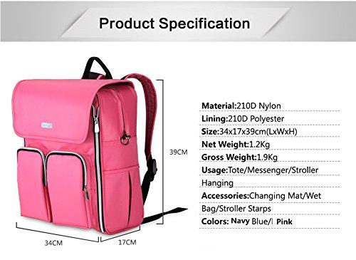 larsuyar Gran Capacidad Impermeable Bolsa de Bebé de nailon para jóvenes Madre, 39cm por 34cm por 17cm azul marino rosa