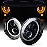 Xprite 7 Inch Round 80W 9600 Lumens Hi/Lo Beam Cree LED Headlights With Halo Ring Angel Eyes DRL For Jeep Wrangler JK TJ LJ 1997 - 2016 (DOT Approved) by Xprite