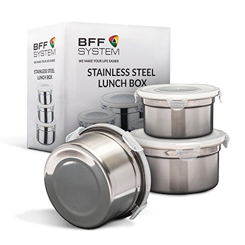 Stainless Steel Lunch Box (Set of 3) by BFFsystem,Reusable Leak Proof Food Storage Containers for Kids, School, Office, Work, Camping,with...