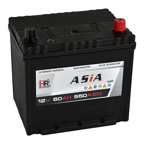 HR HiPower ASIA Autobatterie 12V 60Ah Japan Pluspol Rechts Starterbatterie ersetzt 40Ah 50Ah 65Ah 70Ah A60R