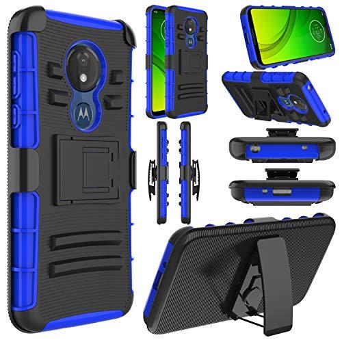 Moto G7 Power Case, Moto G7 Optimo Maxx/Moto G7 Supra Case, Elegant Choise Hybrid Heavy Duty Full Body Protective Rugged Holster with Kickstand and Swivel Belt Clip for Motorola G7 Power (Blue)