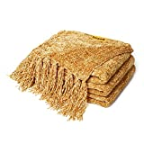 DOZZZ Fluffy Chenille Knitted Throw Blanket with Decorative Fringe for Home Décor Bed Sofa Couch Chair Gold