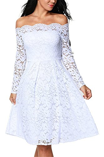 Germo.jin Elegant Womens Vintage Floral Lace Long Sleeve Cocktail Formal Swing Dress M White (70s Dress Up Ideas)
